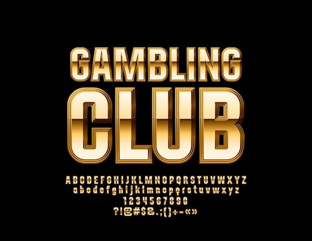럭셔리 도박 클럽 황금 알파벳 문자 숫자 및 기호 엘리트 광택 글꼴