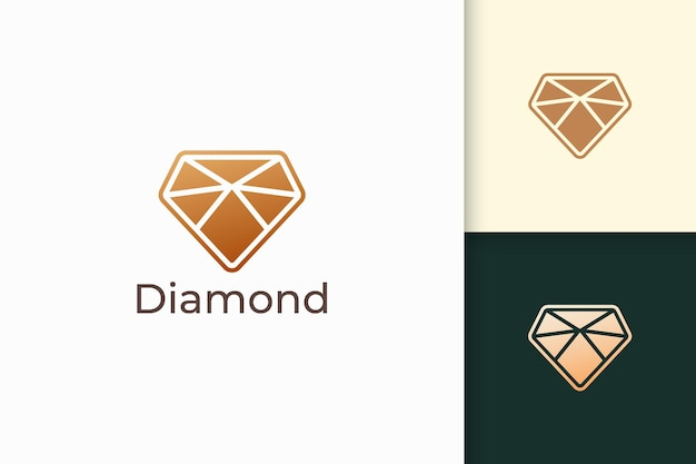 Luxury gem or jewel logo in diamond shape with gold color