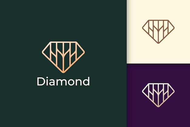 Роскошный логотип драгоценного камня или драгоценного камня в форме ромбовидной линии с золотым цветом