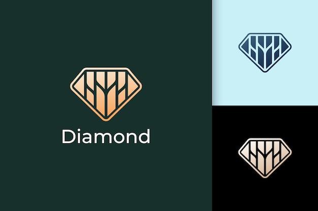 Роскошный логотип драгоценного камня или драгоценного камня в форме ромба с золотым цветом