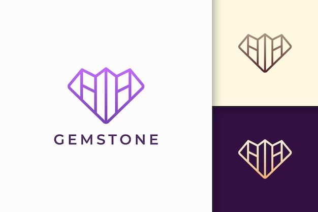 Роскошный драгоценный камень или логотип драгоценного камня в форме ромба