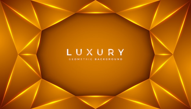 Luxury geometric 3d background with golden gradient composition.