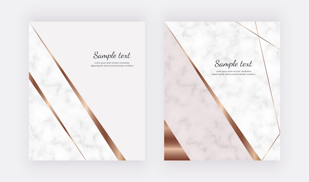 Luxury geometric cards with golden lines and triangle shapes. trendy template for banner, flyer, poster, greeting, wedding invitation