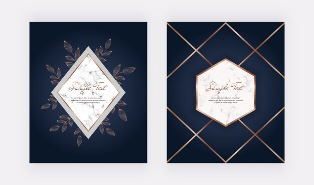 Luxury geometric cover design with marble frames, golden lines and leaves
