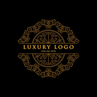 Luxury geometric gold mandala logo