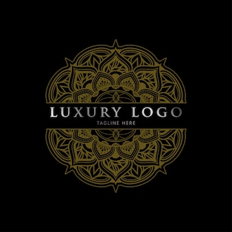 Luxury geometric gold silver mandala logo