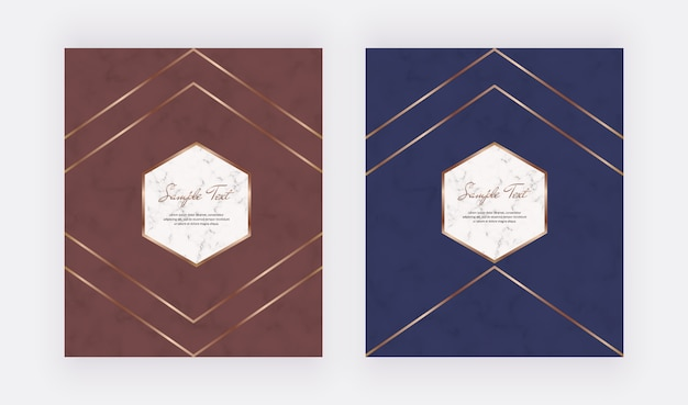 Luxury geometric red and blue design cards with golden polygonal lines frames.