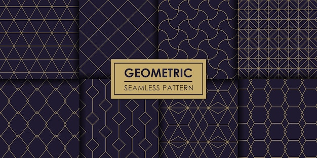Luxury geometric seamless pattern set, decorative wallpaper.