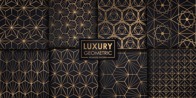 Luxury geometric seamless pattern set