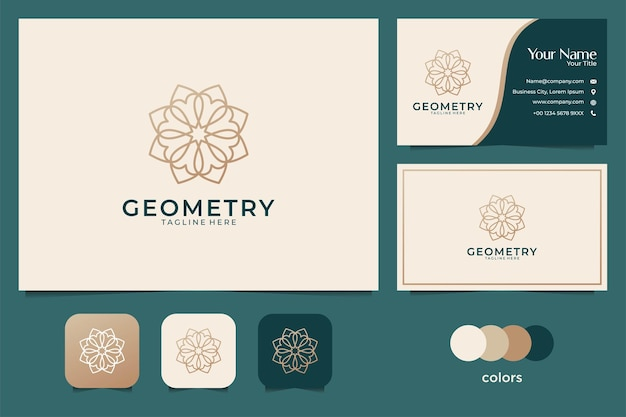럭셔리 기하학 꽃 로고 디자인 및 명함