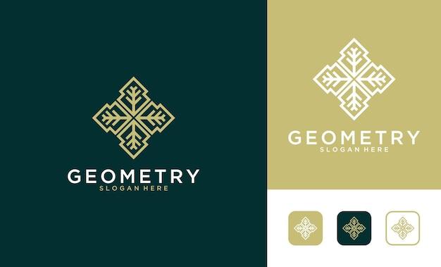 Роскошный геометрический дизайн логотипа листа