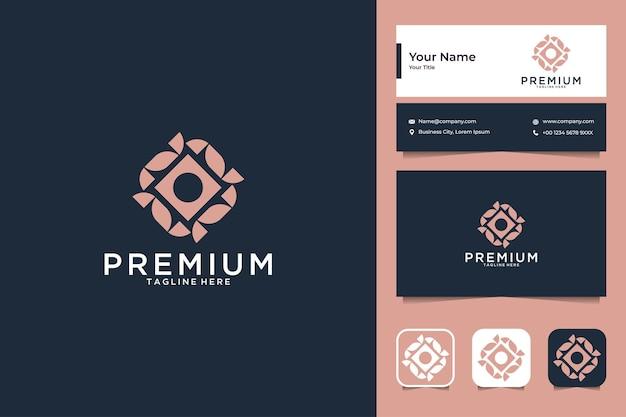Роскошный геометрический дизайн логотипа премиум-класса и визитная карточка