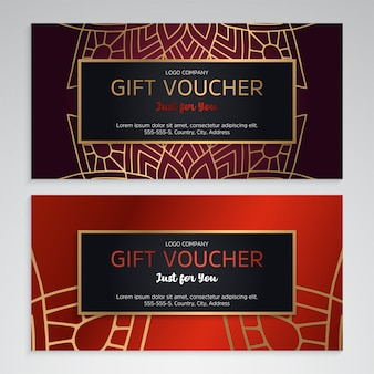 Luxury gift voucher template with ethnic style