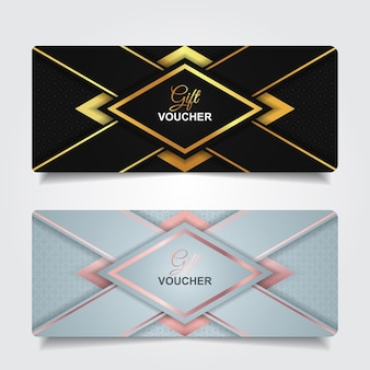 Luxury gift voucher with gold element decoration