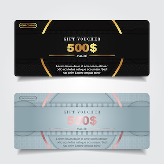 Luxury gift voucher with gold element decoration