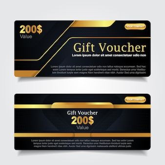 Luxury gift voucher with navy blue and gold element decoration
