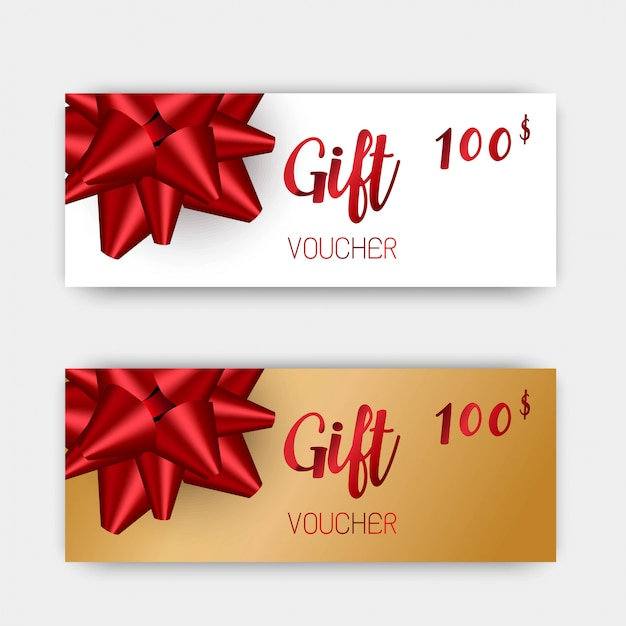 Luxury gift vouchers set. red and golden color design.