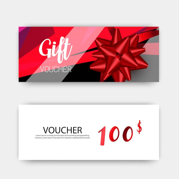 Luxury gift vouchers set. red and white color.