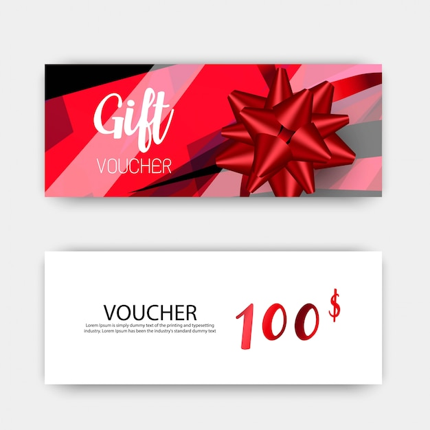 Luxury gift vouchers template set. red and white color design