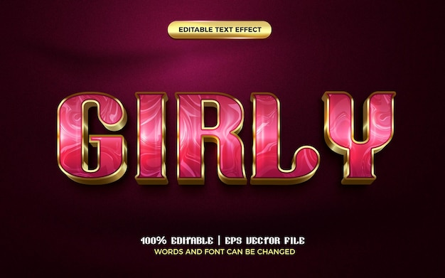 Luxury girly pink gold modern 3d editable text effect