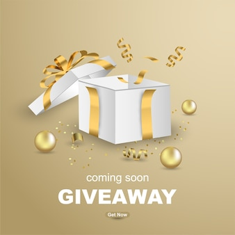 Luxury giveaway banner template design with open gift box.