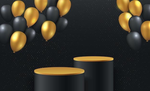 シリンダー表彰台を備えた豪華なゴールドとブラックのバルーン3dレンダリング。金色の表彰台プラットフォームを備えた黒の最小限のレンダリングシーン3d。
