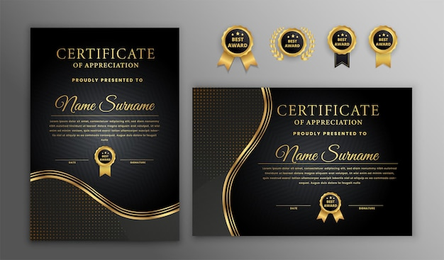Роскошный золотой и черный шаблон сертификата