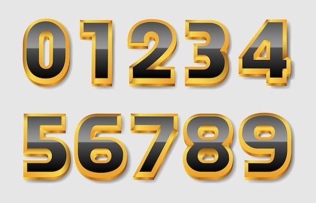 豪華なゴールドとブラックの数字