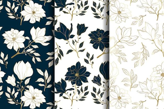 럭셔리 골드와 블루 플로랄 원활한 패턴