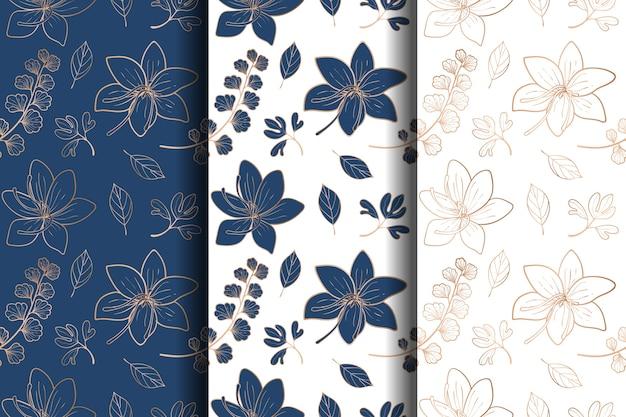 豪華なゴールドとブルーの花柄のシームレスパターン
