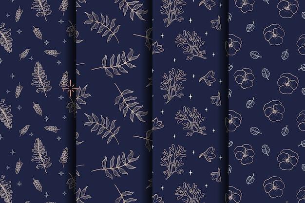 豪華な金と青の葉と花のシームレスなパターン