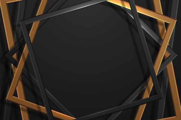 抽象的なスタイルの黒い金属の質感と豪華なゴールドの背景