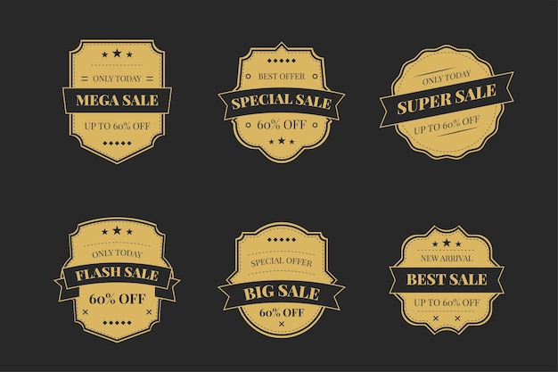 Luxury gold badges and labels premium quality product on a dark