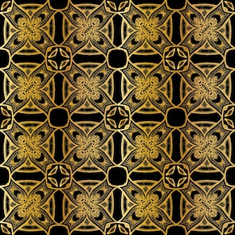 Luxury gold batik seamless pattern, batik indonesian is a technique of wax-resist dyeing applied to whole cloth