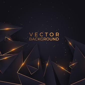Luxury gold and black background with geometric shapes with effect, shiny triangles. abstract backdrop vector illustration