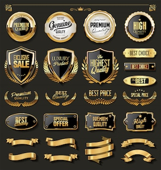 Luxury gold and black design elements collection
