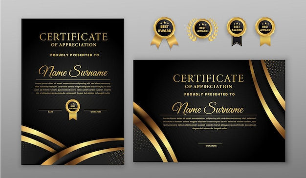 Luxury gold and black halftone certificate with badge emplate