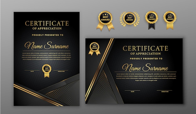 Luxury gold and black halftone certificate with badges and line border template