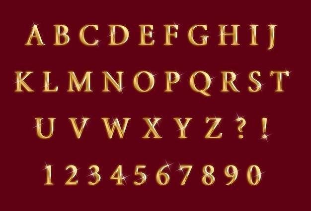 Набор цифр роскошных золотых блестящих алфавитов
