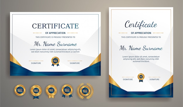 Luxury gold and blue certificate with gold badge and border  template