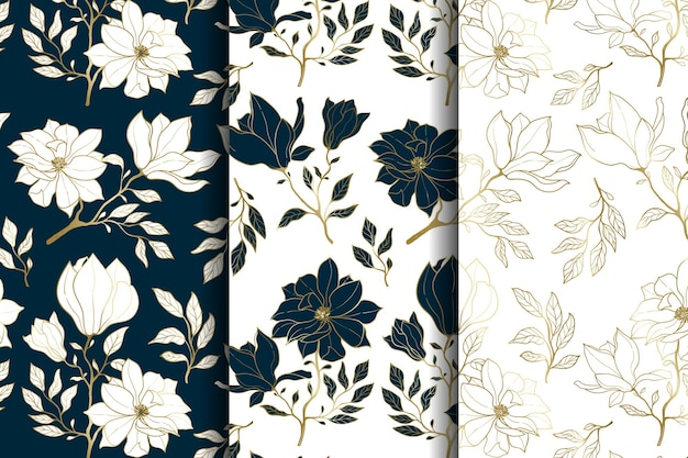 Luxury gold and blue floral seamless pattern