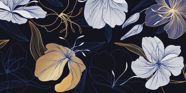 Luxury gold and blue floral wallpaper