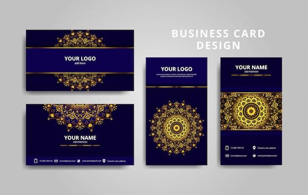Luxury gold and blue mandala business card