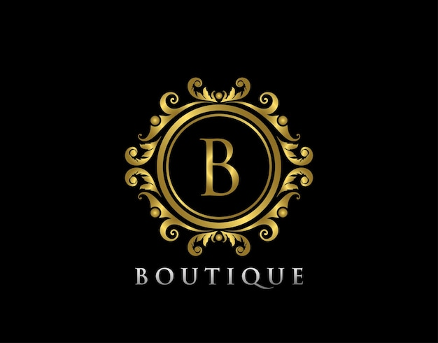 Luxury gold boutique b letter logo letter stamp boutique  hotel heraldic jewelry wedding