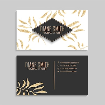 Luxury gold business card template with leaves.
