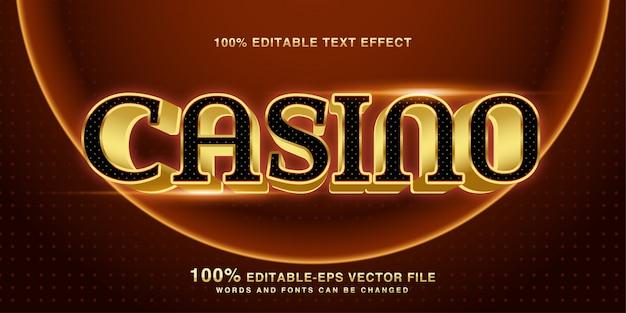 Редактируемый текстовый эффект роскошного золотого казино