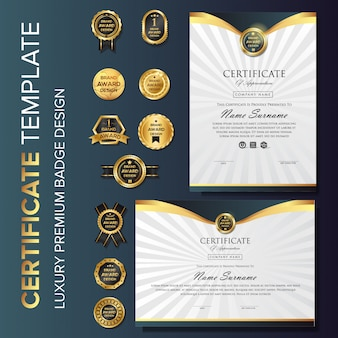 Luxury gold certificate background with badge