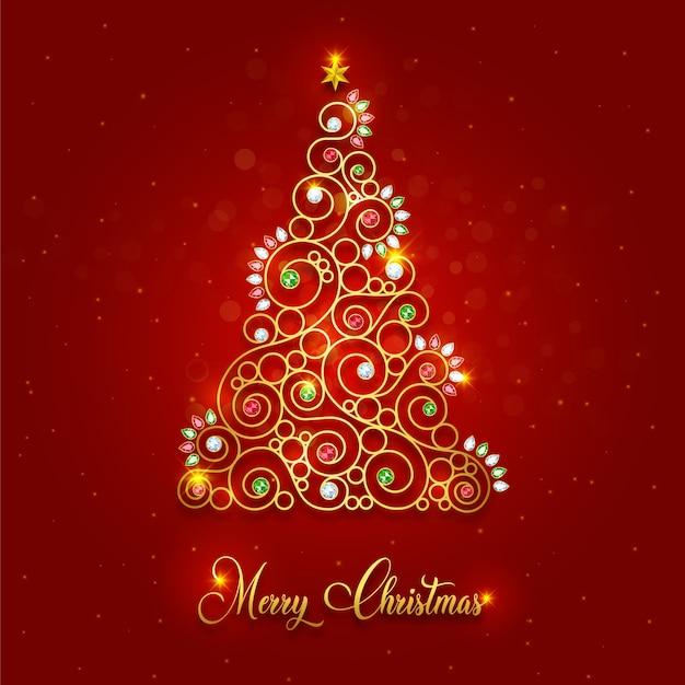 Роскошная золотая рождественская елка с рождеством