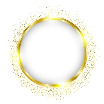 Luxury gold circle frame border design with shiny golden dots