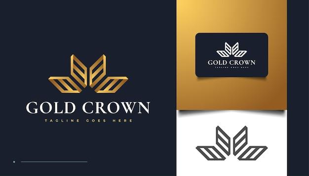 Роскошный дизайн логотипа с золотой короной для бренда и фирменного стиля Premium векторы